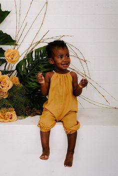 Toddler Jumpsuit, Toddler Girl Romper, Rose Clothing, Kids Clothing, Kids Clothes Boys, Boho Romper, Baby Yellow, Cute Toddlers, Girls Rompers