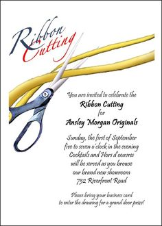 Simple Red Ribbon Cutting Grand Opening Announcement Invitations
