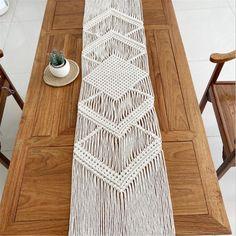 Macrame Art, Macrame Design, Tablecloth, Handmade Table, Boho Diy, Table Runners, Bed Runner, Runes, A Table