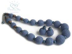 Blue Crochet LINEN NECKLACE NATURAL Denim colour by AmazingDay