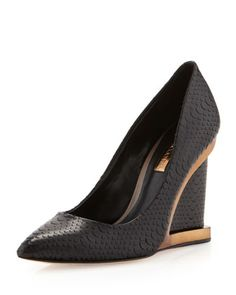 Ardust Framed Pointy-Toe Wedge, Black by BCBGMAXAZRIA at Neiman Marcus Last Call.