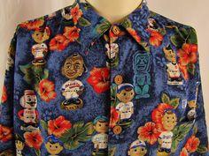 6653dd788 REYN SPOONER BASEBALL BOBBLEHEAD Hawaiian Shirt 100% Rayon Large MLB Cubs  Sox