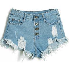 Short jeans cintura alta com botões