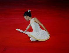 Cuadro Empezando a bailar Oleo sobre lienzo 65x50 cm.