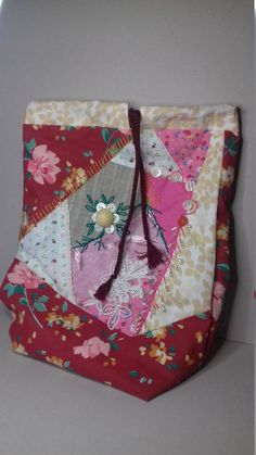 Pink Quilted Gift Bag. Crazy Quilted Pouch. Pajama Bag. Cotton Quilted Bag for Slippers. Accessory Bag. Pink Beaded Pouch. Drawstring Bag. by QltDesign on Etsy