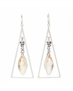 Silver Triangle Earrings  Swarovski crystals & silver for the girls?