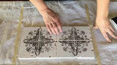 DIY Vintage Tile using IOD stamps , the very best in DIY Decor for your kitchen backsplash !