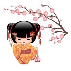 Ilustracion del vector de un chica oriental lindo en un vestido del kimono del color del melocotón con el marco ancho de la brujería africana del ciruelo que sostiene un bolso de lazo rosado del kinchaku. El pelo negro del chica se adorna con las cintas y las horquillas del estilo del geisha. La muñeca se nombra después del árbol japonés del ume que se relaciona con los albaricoqueros del ciruelo y. Estas ilustraciones fueron inspiradas por las muñecas tradicionales del kokeshi de Japón e…