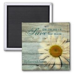 vintage barnwood daisy western country wedding save the date fridge magnets