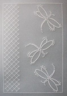 Dragonflies with Lace Panel Butterfly Template, Butterfly Cards, Vellum Crafts, Parchment Design, Parchment Cards, Handmade Birthday Cards, Handmade Cards, Silk Ribbon Embroidery, Paper Cards