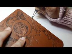Pyrography on leather notebook cover. - YouTube