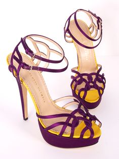 Charlotte Olympia Ursula Purple and Yellow Silk Pumps perfect for LSU!