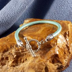 5mm Metallic Sea Foam Green Round Leather Bracelet with Toggle Clasp