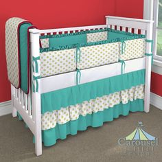 Crib bedding in Solid Emerald Turquoise, White and Gold Dot, Solid Antique White, Solid Red. Created using the Nursery Designer® by Carousel Designs where you mix and match from hundreds of fabrics to create your own unique baby bedding. #carouseldesigns