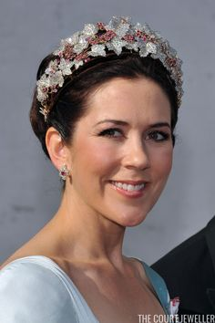 Crown Princess Mary of Denmark in her ruby tiara; wedding of Prince Joachim of Denmark and ms. Marie Cavallier on May 24, 2008