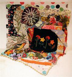 SUN Birds Flowers Altered Fabric Folk ART Collage QUILT.