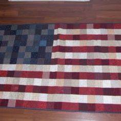 A Little Bit Biased: American Flag lap quilt. Would be a great crochet granny square quilt American Flag Blanket, New American Flag, American Flag Pallet, Lap Quilts, Quilt Blocks, Patriotic Quilts, Quilt Of Valor, Quilting Designs, Quilting Ideas