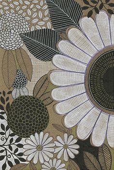 susan black design: kraft / gold / black / white Motif Floral, Floral Prints, Art Prints, Surface Pattern Design, Pattern Art, Pattern Drawing, Decoupage, Susan Black, Scrapbook Patterns