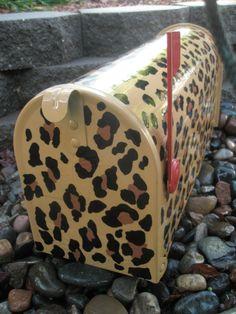 Custom hand painted mailbox Leopard print. $69.00, via Etsy.