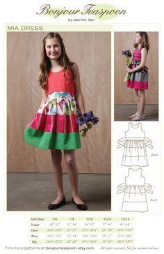Mia Dress Sewing Pattern sized for Kids Thru by bonjourteaspoon, $15.00