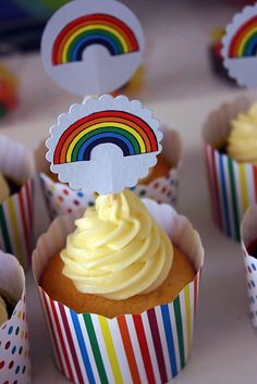 Rainbow cuppies!   I love the party, although I would tweek a few things and probably never be able to make one since I have 3 boys!
