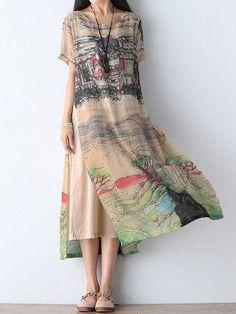 #NewChic - #NewChic Gracila Scenery Printed Double Layer Short Sleeve Women Dresses - AdoreWe.com