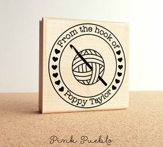"""Large 3x3"""" Personalized Crochet Rubber Stamp, From the Hook of Crochet – PinkPueblo"""