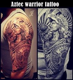Best Upper Arm Tattoos for Men and Women Cool Upper Arm Tattoo Designs and Ideas Updated Daily Warrior Tattoo Sleeve, Aztec Tattoos Sleeve, Aztec Warrior Tattoo, Aztec Tribal Tattoos, Aztec Tattoo Designs, Half Sleeve Tattoos For Guys, Design Tattoo, Tattoo Sleeve Designs, Samoan Tribal
