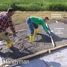 Pouring a concrete slab yourself can be a big money-saver or big mistake. We show you the best techniques for concrete forms. Concrete Pad, Concrete Forms, Poured Concrete, Concrete Projects, Concrete Driveways, Concrete Structure, Building A Shed, Building A New Home, Slab Foundation