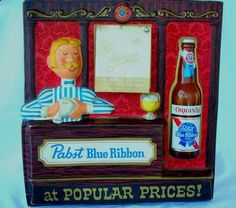 Vintage 1967 Pabst Blue Ribbon Beer Sign with Attached Calendar . I Like Beer, Pabst Blue Ribbon, Bar Signs, Brewing Co, 3 D, Calendar, Frame, Vintage, Picture Frame