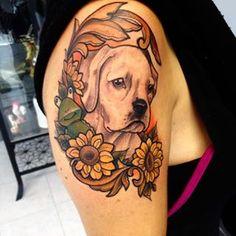 ... #dog #dogtattoo #frog #mrfrog #sunflowerstattoo #sunflowers #frametattoo #armtattoo #ladytattooers #tifftattoo #neotraditionaltattoo #neotraditional # ...