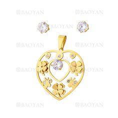 juego colgante y aretes de trebol con cristal en acero dorado inoxidable -SSSTG1074318