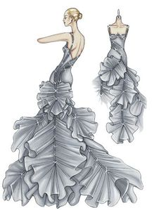Atelier Versace Spring 2009. Smokey grey silk organza ballgown Crinoline and crystal mesh tubes out line the body and fall to gather the volume of the dress, creating ruffles in petal shapes