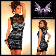 High Neck Floral Lace Dress in black and white   Item No : DP1726-2  Price : $45.99  Size S/M only available.  To purchase today, please email us or inbox us & include the following:  1) Full name  2) Email address  3) Mailing address  4) Phone number  5) Item number(s) OR picture(s) AND size(s) of the item(s) you wish to order  6) Form of payment (etransfer or PayPal accepted. www.paypal.com)  Email to: dieprettyclothing@gmail.com  ~ Die Pretty Clothing Co. www.dieprettyclothingco.com