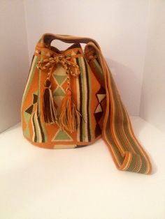 Orange and Green Mochila with design by OneKaii on Etsy