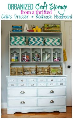 Organized Craft Storage from a thrifted child's dresser and bookcase headboard - thehappyhousie.com