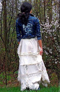 Купить Юбка макси в стиле БОХО с кружевом и вышивкой (№275) - комбинированный, юбка макси