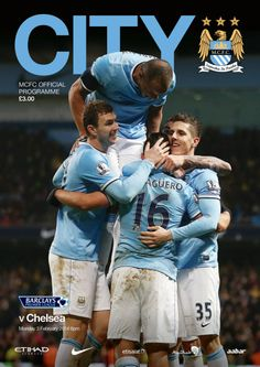 COVER STARS: A celebratory image adorns the #cityvchelsea official match programme available at the game.