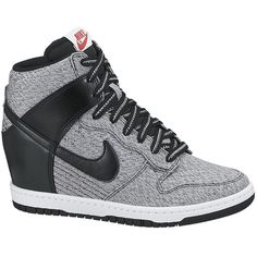 Nike Dunk Sky Hi Texture (436.695 COP) ❤ liked on Polyvore featuring shoes, sneakers, nike, wedges, heels, shoe club, women, nike trainers, wedges shoes and nike sneakers