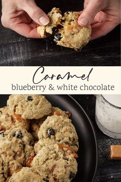 Hard to resist these Blueberry White Chocolate Cookies with gooey caramel throughout. An oatmeal cookie with dried blueberries, sweet white chocolate and caramel, an amazing cookie that everyone will love. Cookie Recipes, Keto Recipes, Dessert Recipes, Desserts, White Chocolate Cookies, White Chocolate Chips, Caramel Bits, Dried Blueberries, Oatmeal Cookies