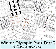 Free Winter Olympics Part 2 - Language & Math - 3Dinosaurs.com