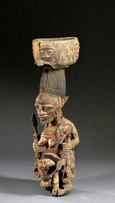 Africa   Shrine figure from the Yoruba people of Nigeria   attributed to Agbonbioff   Wood with pigment