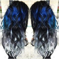 Blue, black and white hair color
