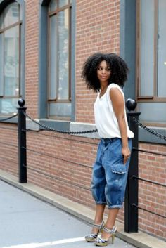 Love the look. Loose clothes and heels. Casual street style Afro punk