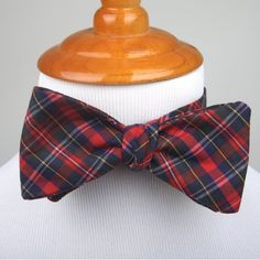 Red Navy Plaid Bow tie self tie bow tie plaid bow by DapperGent