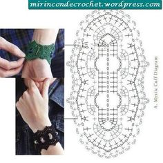 Crochet Cuff Bracelet Wrist Band Jewelry Free Chart Patterns