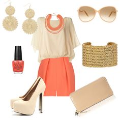Would fall over in those shoes but I love the cream and coral together.
