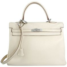 Pre-owned Hermes Kelly 35 Blanc Casse Brushed Palladium ($6,500) ❤ liked on Polyvore featuring bags, handbags, handbags and purses, hermes kelly bags, top handle bags, vintage plastic purses, man bag, white purse, white hand bags and handbag purse
