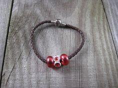 European Beaded Bracelet Euro Beads Bracelet Brown Leather Style Love Clasp Bracelet Cord Mixed Red Euro Large Hole Beads Silver Rhinestone #handmade #etsyretwt