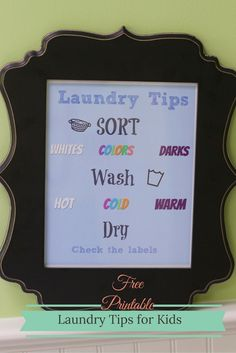 #FreeToBe #ad Get the Kids to Do Laundry Printable Free Printable for the laundry room
